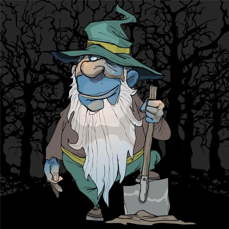 Tecknad filmblåttdvärgen står med en skyffel i nattskogen vektor illustrationer