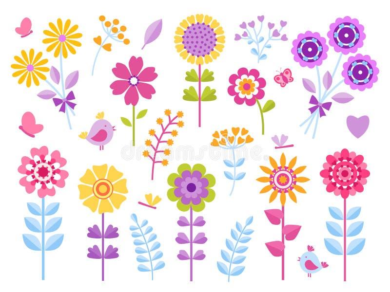 Tecknad filmblommaklistermärkear Gulliga fjärilsfel och fåglar lurar gemkonst, nätt retro uppsättning för sommarträdgård Blom- ve vektor illustrationer