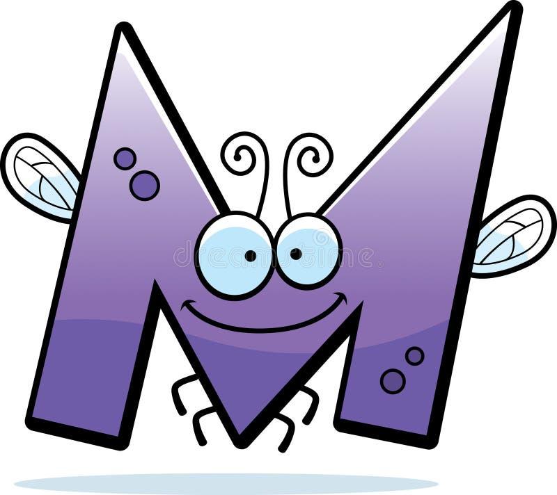 Tecknad filmbokstav M Bug royaltyfri illustrationer