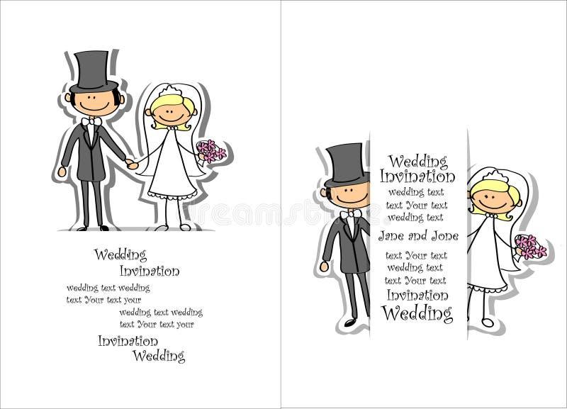 Tecknad filmbröllopbild stock illustrationer