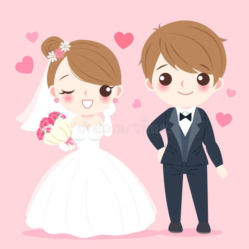 Tecknad filmbröllopfolk royaltyfri illustrationer