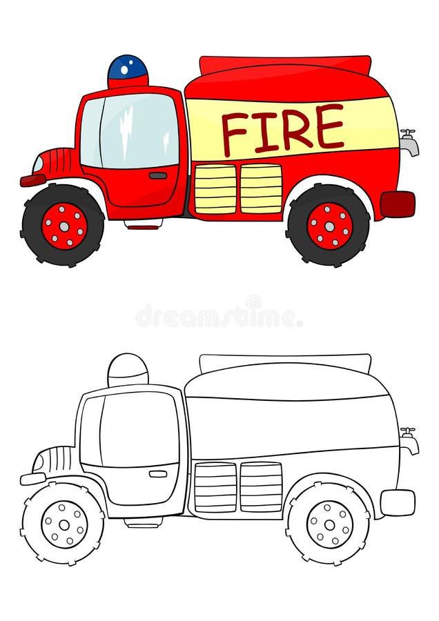 Download Tecknad filmbrandlastbil vektor illustrationer. Illustration av bränna - 37349994