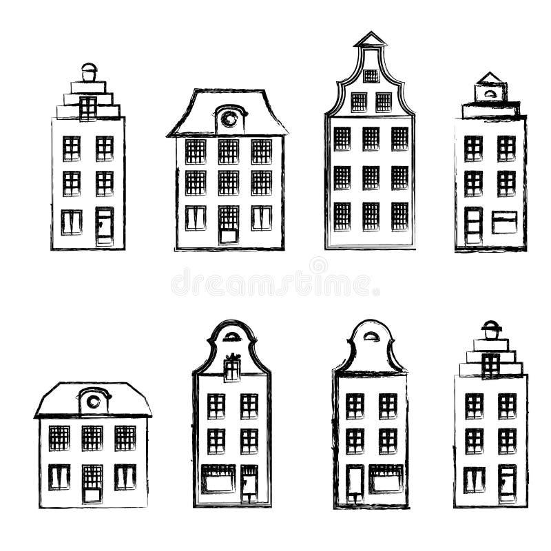 Tecknad filmbyggnad, den dekorativa fasaden av drog vektorn för borgarehus handen skissar isolerat på vit bakgrund stock illustrationer