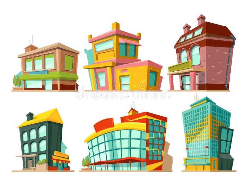 Tecknad filmbyggnader Isolat för vektorillustrationuppsättning på vit stock illustrationer