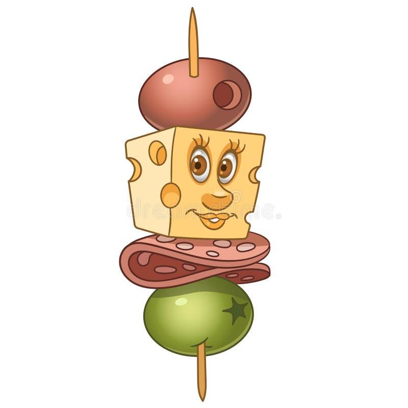 Tecknad filmcanape med salami och ost stock illustrationer