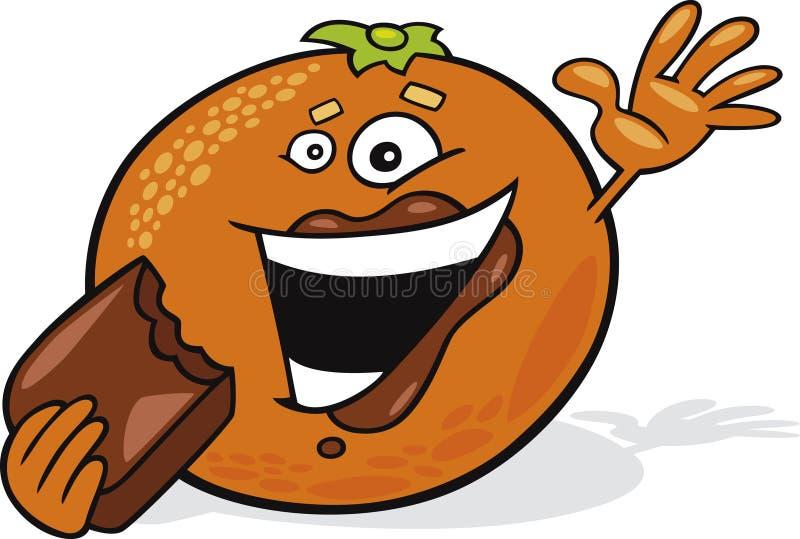 Tecknad filmchoklad äter orangen