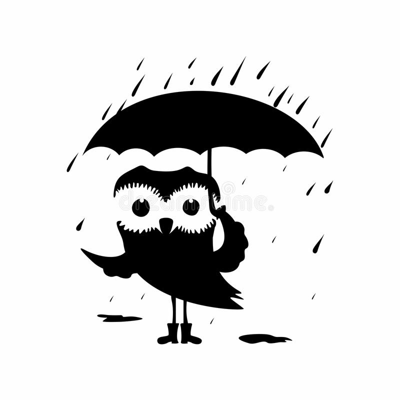 tecknad filmcommandertryckspruta hans illustrationsoldatstopwatch Söt uggla med paraplyet i regnet royaltyfri illustrationer