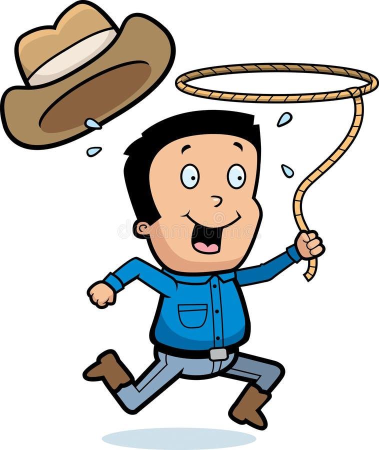 Tecknad filmcowboy Lasso vektor illustrationer