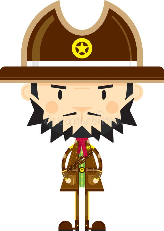 Tecknad filmcowboy Sheriff vektor illustrationer