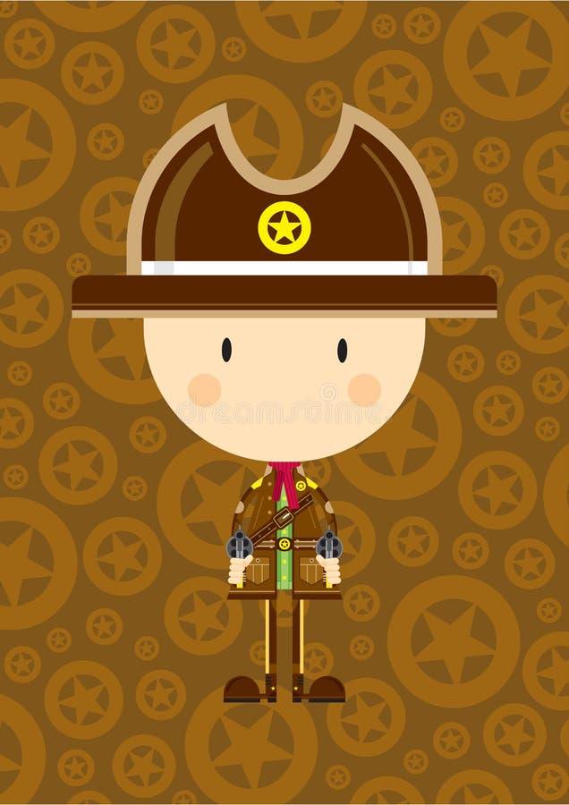Tecknad filmcowboy Sheriff med vapen royaltyfri illustrationer