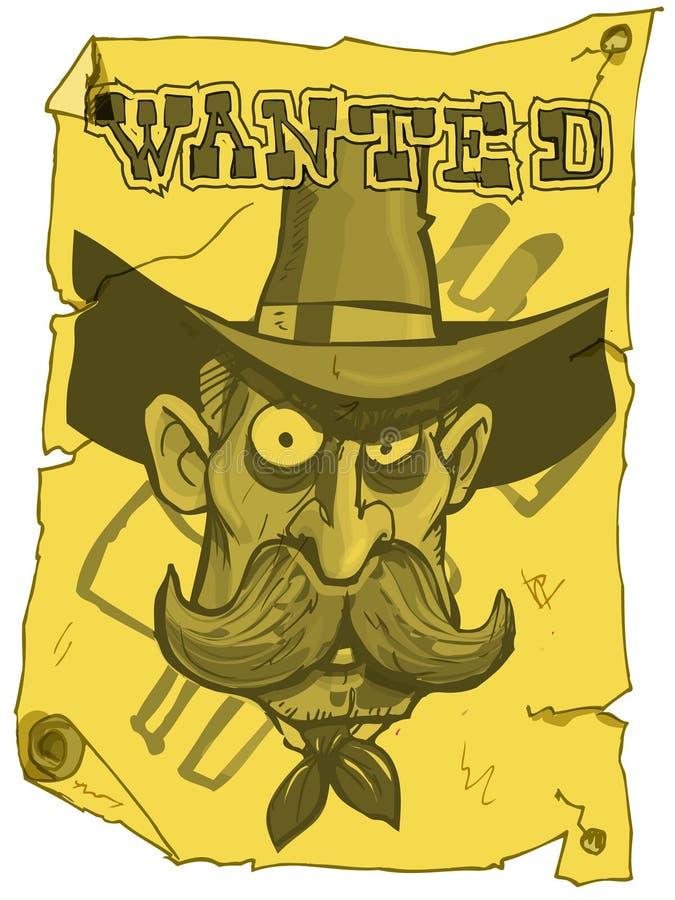 tecknad filmcowboyaffischen önskade vektor illustrationer