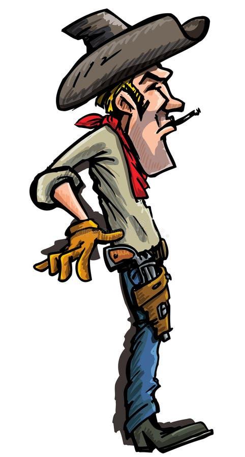 tecknad filmcowboydraw guns hans klart till stock illustrationer