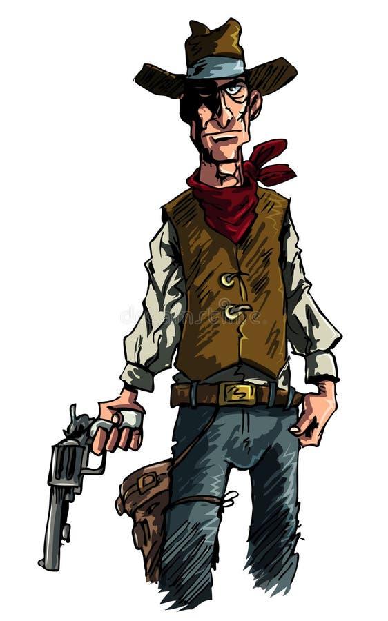 tecknad filmcowboyen tecknar gunslingeren hans skytt sex royaltyfri illustrationer
