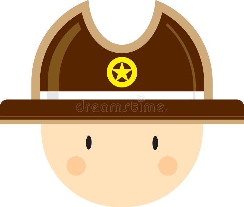 Tecknad filmcowboysheriff Head royaltyfri illustrationer