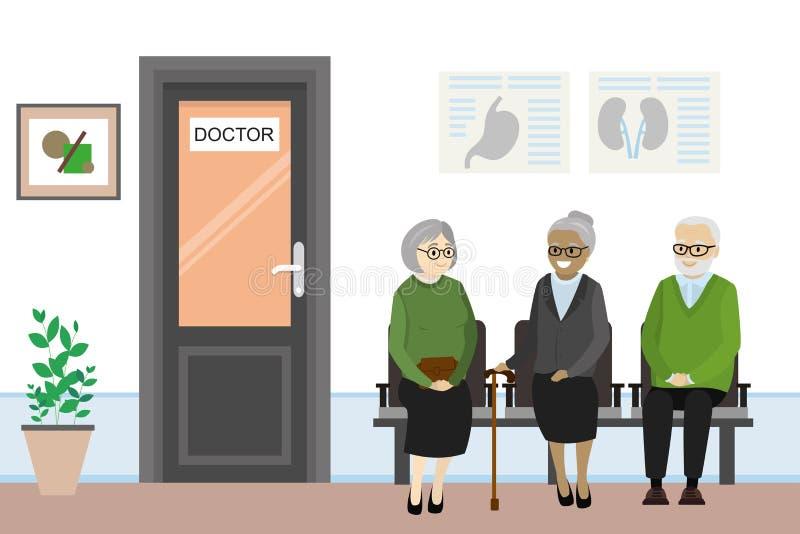 Tecknad filmdörren till doktorns kontor och gamla människor är waitien stock illustrationer