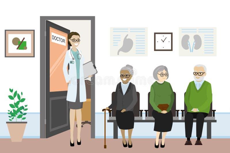 Tecknad filmdörren till doktorns kontor och gamla människor väntar royaltyfri illustrationer