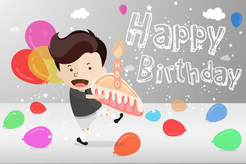 Tecknad filmdesignen för födelsedagkort med en ung gullig pojke håller ett stycke av kakan med stearinljuset i händer för för att stock illustrationer