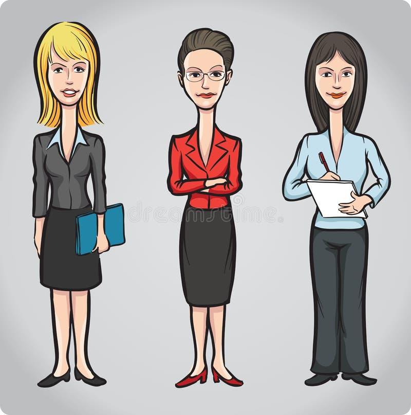 Tecknad filmdiagram av kontorskvinnor vektor illustrationer