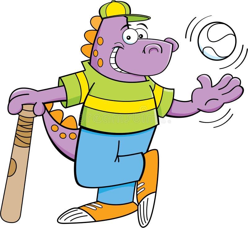 Tecknad filmdinosaur med ett slagträ och en baseball royaltyfri illustrationer