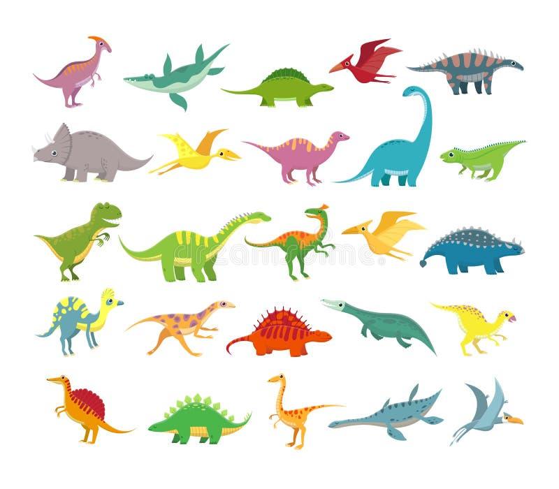 Tecknad filmdinosaurier Behandla som ett barn dino förhistoriska djur Gullig dinosaurievektorsamling stock illustrationer