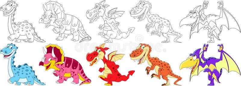 Tecknad filmdinosaurieuppsättning royaltyfri illustrationer