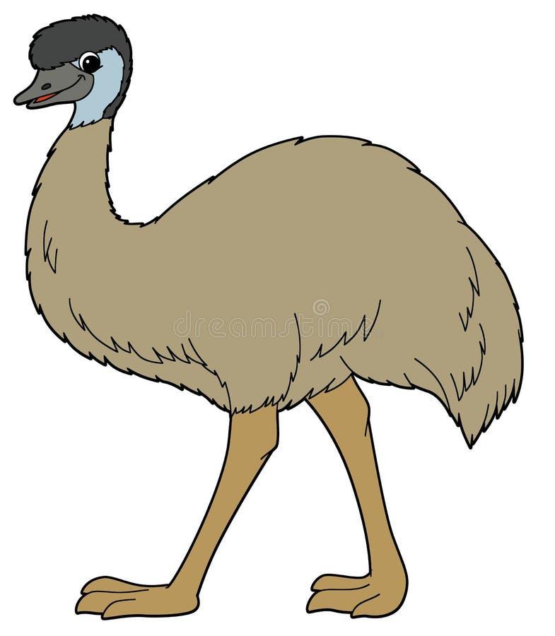 Tecknad filmdjur - emu - illustration för barnen vektor illustrationer