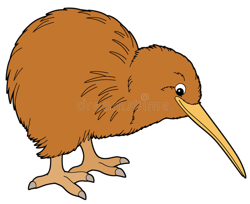 Tecknad filmdjur - kiwi - plan färgläggningstil - illustration för barnen vektor illustrationer