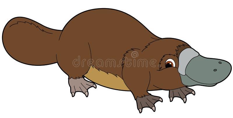 Tecknad filmdjur - näbbdjur - illustration för barnen stock illustrationer