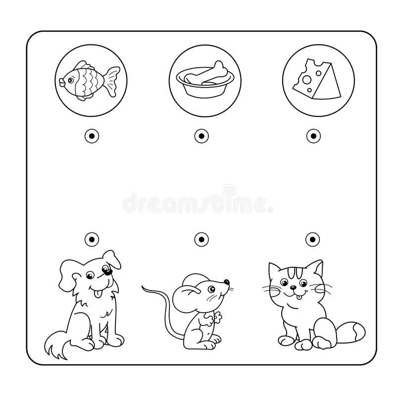 Tecknad filmdjur och deras favorit- mat Labyrint eller labyrintlek för förskole- barn Pussel Tilltrasslad väg Matcha leken stock illustrationer