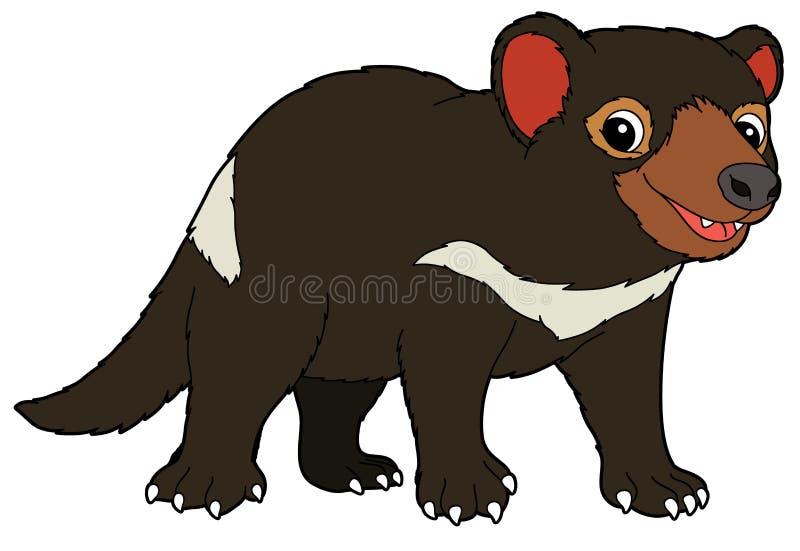 Tecknad filmdjur - tasmanian jäkel - illustration för barnen vektor illustrationer
