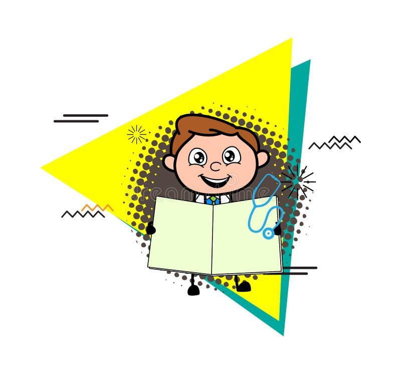 Tecknad filmdoktor Showing en öppen anteckningsbokvektor vektor illustrationer