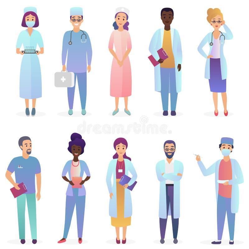 Tecknad filmdoktorer Lag för medicinska arbetare Uppsättningen för sjukhuspersonalen isolerade royaltyfri illustrationer