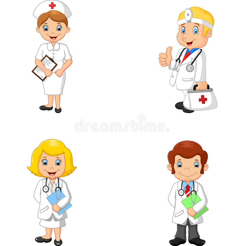 Tecknad filmdoktorer och sjuksköterskor stock illustrationer