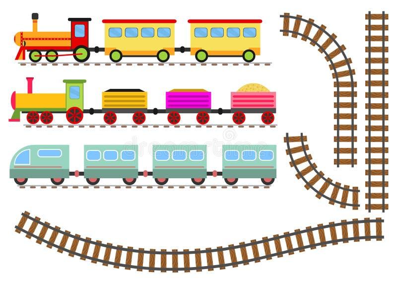 Tecknad filmdrev med vagnar och järnvägen Leksakdrevet passerar stången stock illustrationer