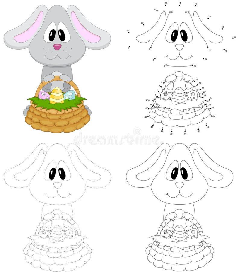 Tecknad filmeaster kanin med korgen av ägg Prick som pricker leken för ki royaltyfri illustrationer
