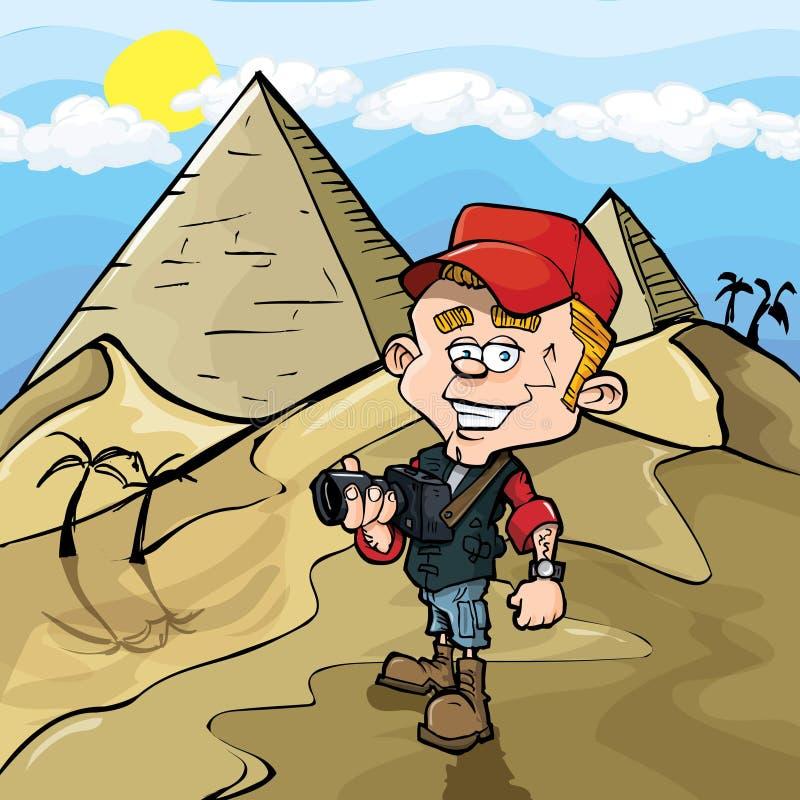 tecknad filmegypt photojournalist royaltyfri illustrationer