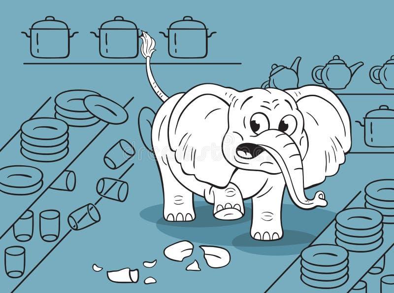 Tecknad filmelefanten i ett porslin shoppar illustrationen royaltyfri illustrationer