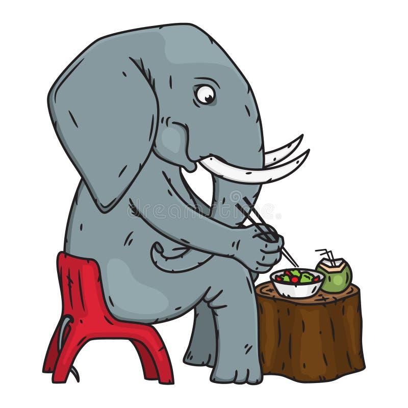 Tecknad filmelefantsammanträde på en stol och en ätalunch Elefant också vektor för coreldrawillustration vektor illustrationer