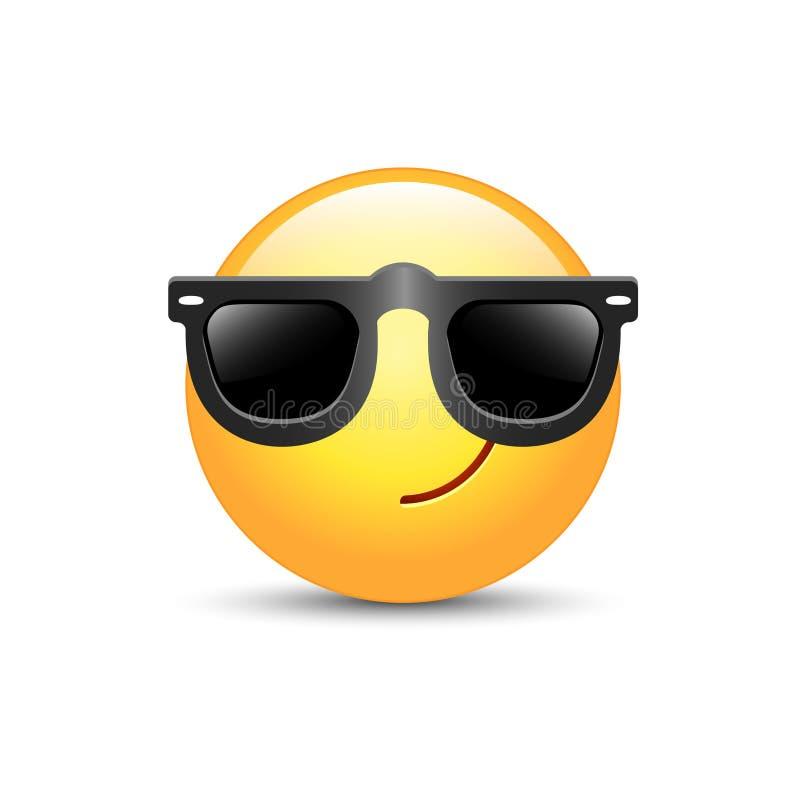 Tecknad filmemoticon som bär svart solglasögon Lycklig gullig vektoremoji royaltyfri illustrationer