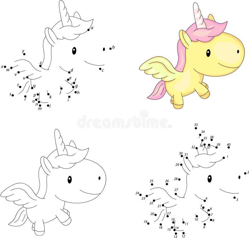 Tecknad filmenhörning Färgläggningbok och prick som pricker leken för ungar vektor illustrationer