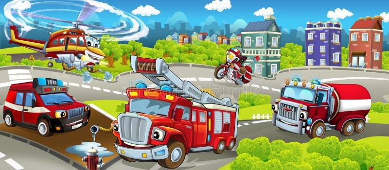Tecknad filmetapp med olika maskiner för färgrik och gladlynt plats för brandbekämpning - vektor illustrationer