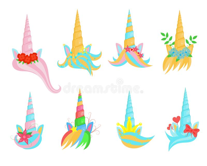 Tecknad filmfärg Unicorn Tiaras Sign Icon Set vektor vektor illustrationer