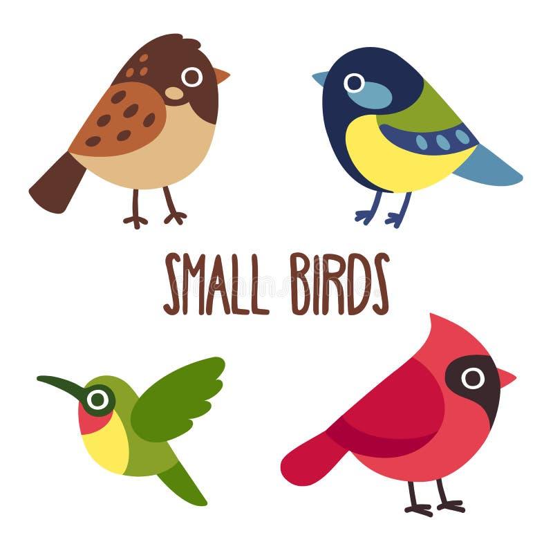 Tecknad filmfågeluppsättning stock illustrationer