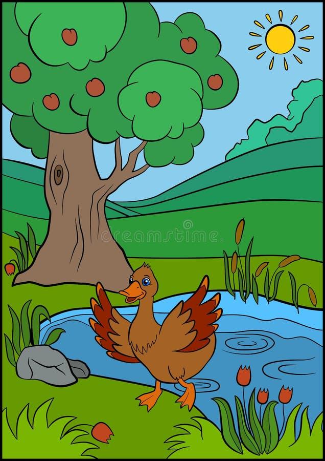 Tecknad filmfåglar för ungar Liten gullig and stock illustrationer