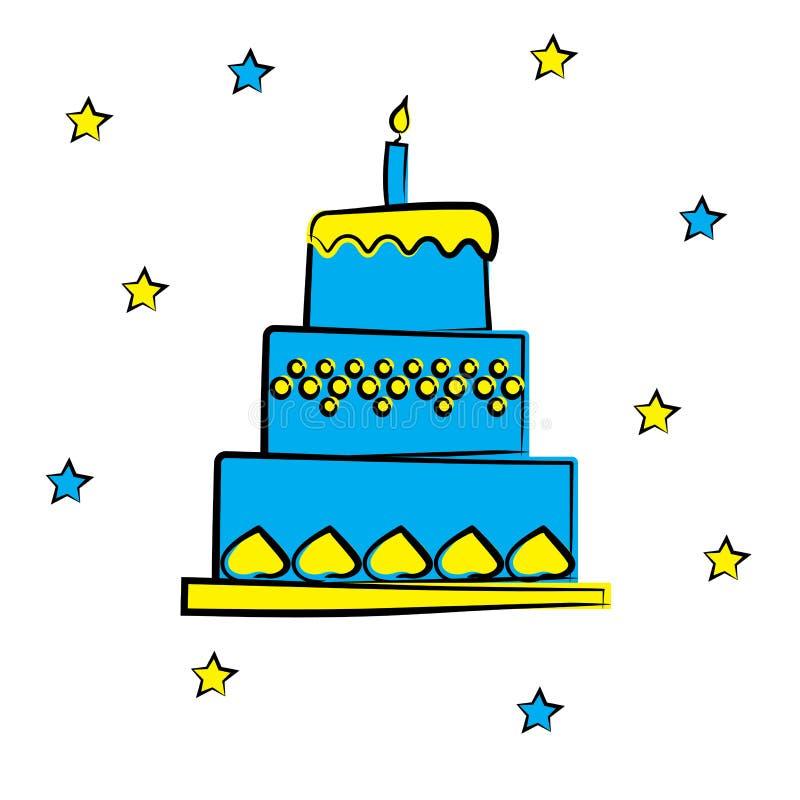 Tecknad filmfödelsedagkaka med stearinljuset, vektorillustration vektor illustrationer