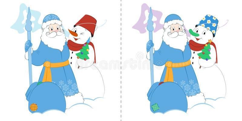 Tecknad filmfader Frost med snögubben och gåvor Fynd tio skillnader vektor illustrationer