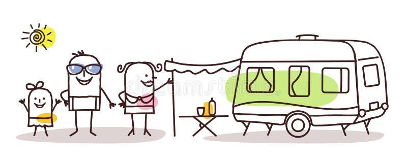 Tecknad filmfamilj med en husvagn stock illustrationer