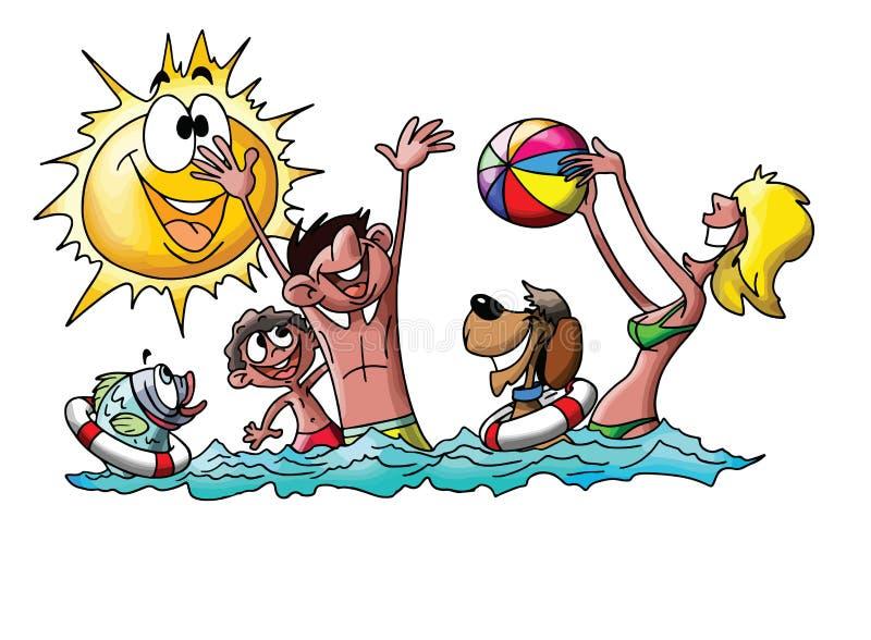 Tecknad filmfamilj på semestern som spelar bollen och spenderar tidsimning i havsvektorn stock illustrationer