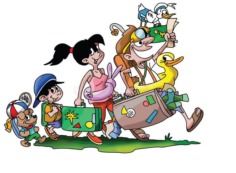 Tecknad filmfamilj som går på en semester med deras hundvektor stock illustrationer
