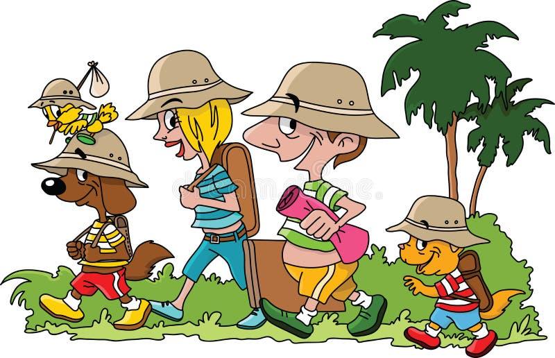 Tecknad filmfamilj som går på en semester med deras katthund- och fågelvektor royaltyfri illustrationer
